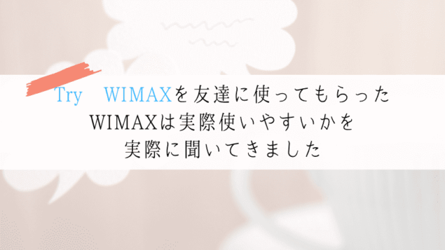 Try WIMAX 口コミ