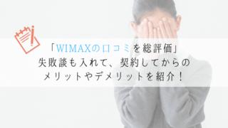 失敗 WIMAX 口コミ