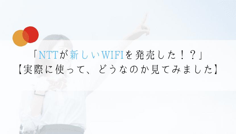 NTTが新しいWIFIを法人用に発売した!?【実際に使った評価をまとめた】